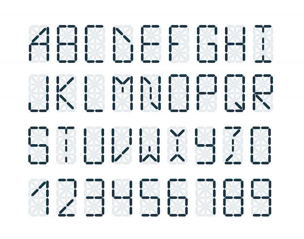 Digitale retro klok lettertype Premium Vector