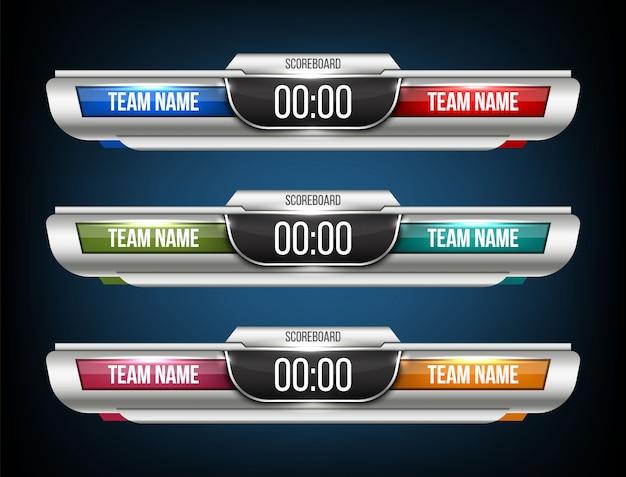 Digitale scorebord sport uitzending grafische achtergrond. Premium Vector