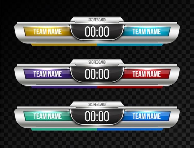 Digitale scorebord sportuitzending Premium Vector
