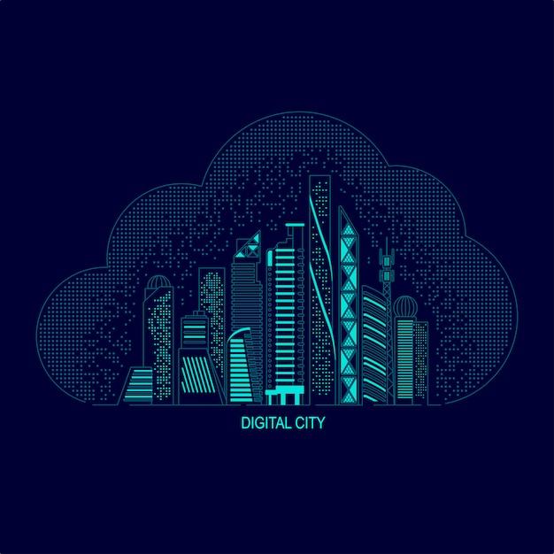 Digitale stad of slimme stad Premium Vector