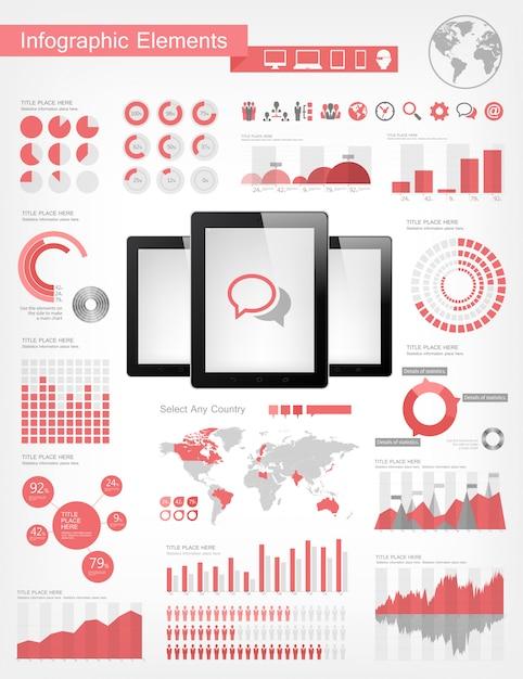 Digitale tabletten infographic elementen Premium Vector