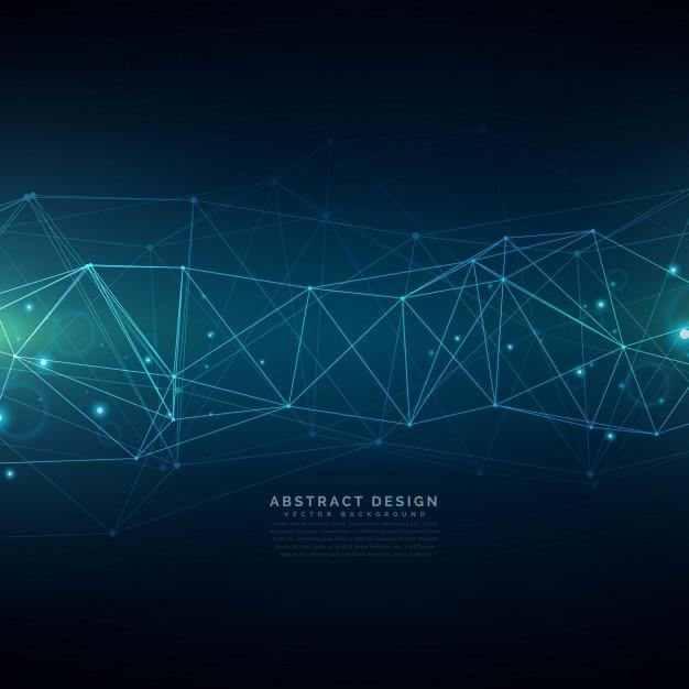 digitale technologie achtergrond opgebouwd uit lijnen mesh Gratis Vector