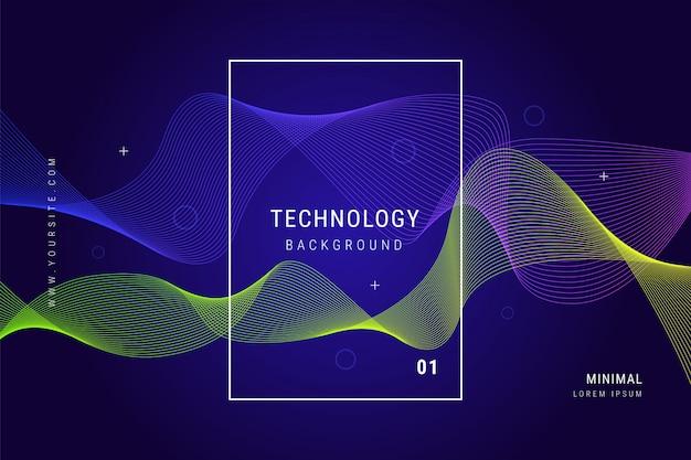 Digitale technologie golflijnen mesh geometrische achtergrond Gratis Vector