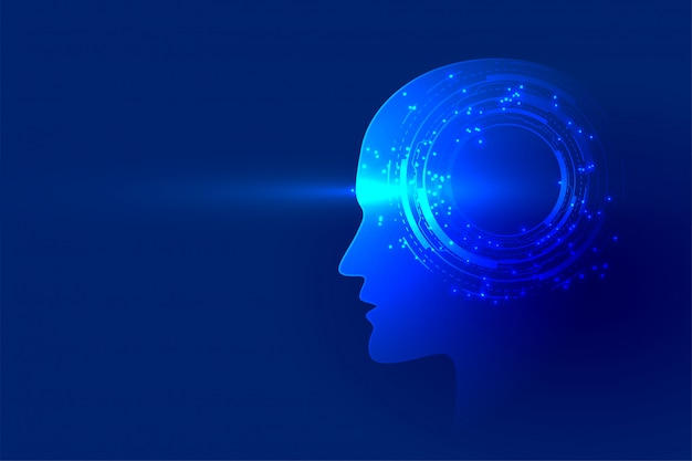 Digitale technologie wordt geconfronteerd met kunstmatige intelligentie achtergrond Gratis Vector