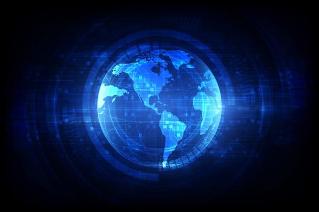 Digitale wereldwijde simulatietechnologie Premium Vector