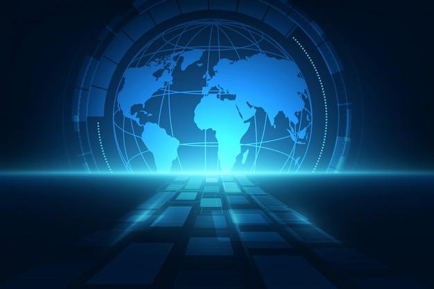 Digitale wereldwijde technologische achtergrond Premium Vector