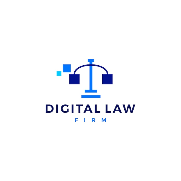 Digitale wet schalen van justitie logo vector pictogram Premium Vector