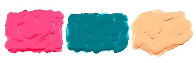 Dikke acryl aquarelverf textuur set van drie Gratis Vector