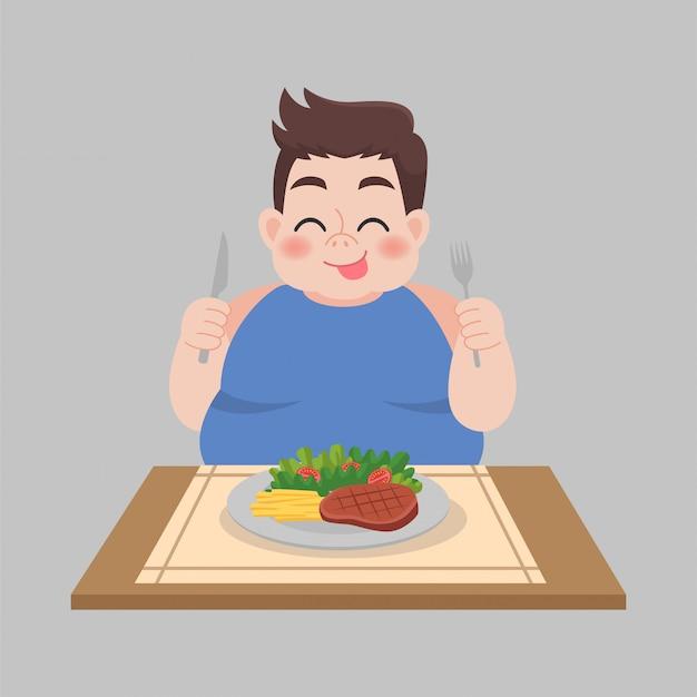 Dikke man klaar om voedsel te eten Premium Vector