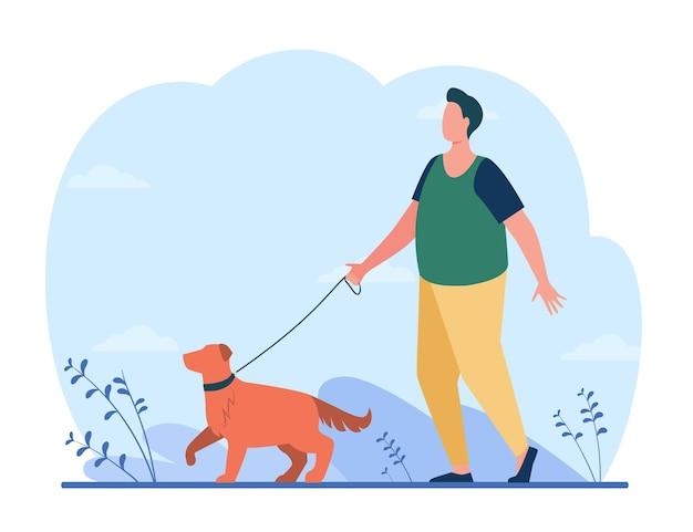 Dikke man lopen met hond op straat. cartoon afbeelding Gratis Vector
