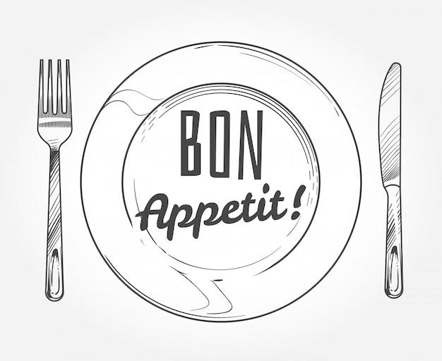 Dinerbord met mes en vork. doodle schets servies en schotel. Premium Vector