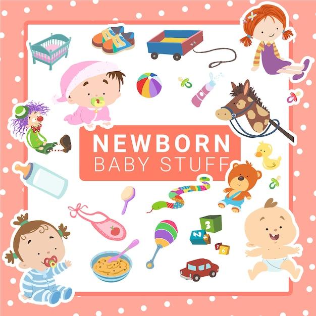 Dingen van baby Premium Vector