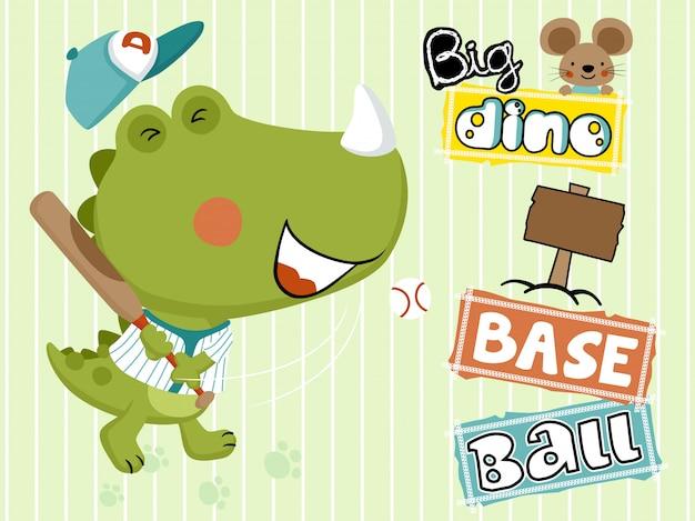 Dino cartoon spelen honkbal met kleine muis Premium Vector