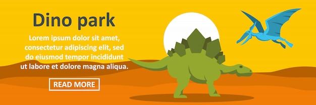 Dino park banner sjabloon horizontaal concept Premium Vector