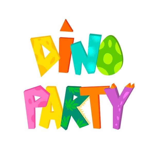 Dino partij schattige hand belettering tekst. illustratie voor kinder t-shirts, dinosaurusfeest, verjaardagen, wenskaarten, uitnodigingen, banners sjabloon. Premium Vector