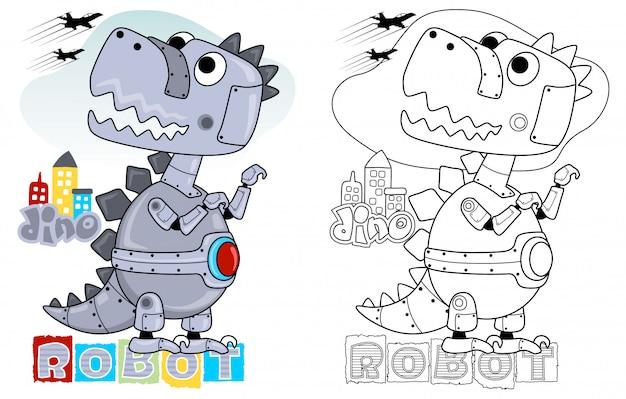 Dino robot cartoon Premium Vector