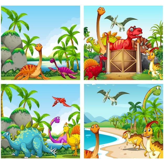 Dinosaur achtergronden collectie Gratis Vector
