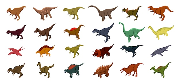 Dinosaur iconen set, isometrische stijl Premium Vector