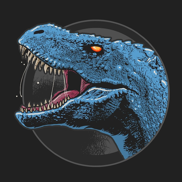 Dinosaur t-rex hoofdkunstwerk vector Premium Vector