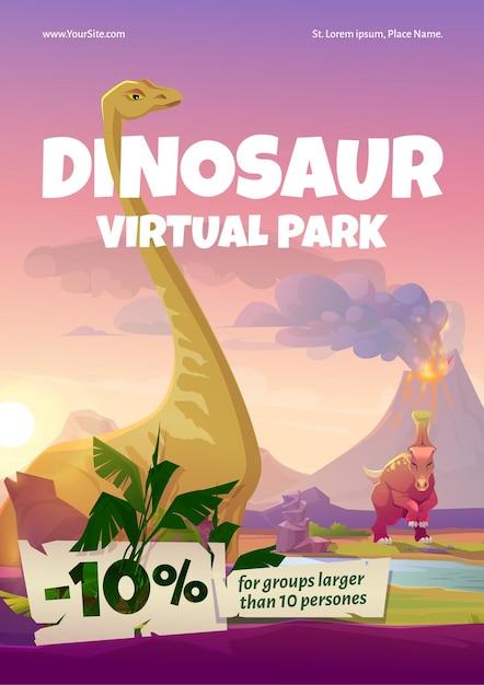 Dinosaur virtuele park poster Gratis Vector
