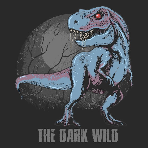 Dinosaur wild beast t-rex bewerkbare lagen vectorkunstwerk Premium Vector