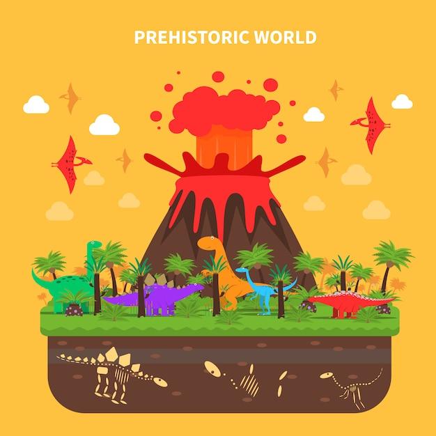 Dinosaurs concept illustratie Gratis Vector