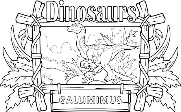 Dinosaurus gallimimus Premium Vector