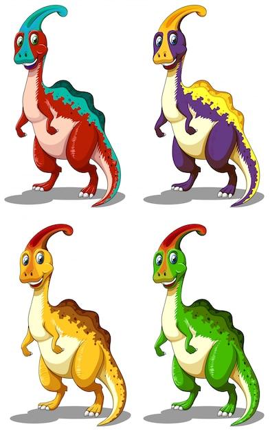 Dinosaurus in vier kleuren Gratis Vector