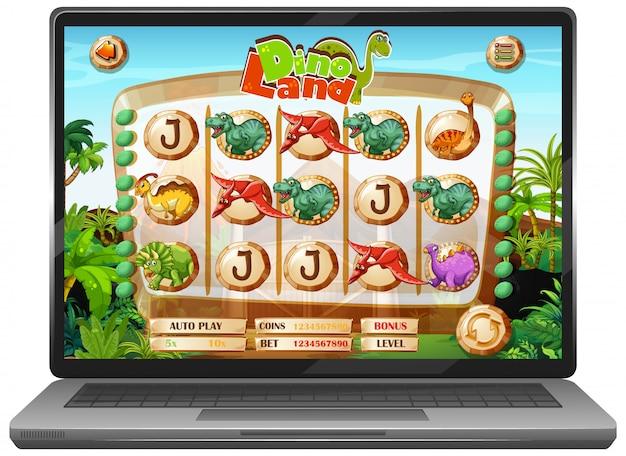 Dinosaurus spel op laptop scherm Gratis Vector