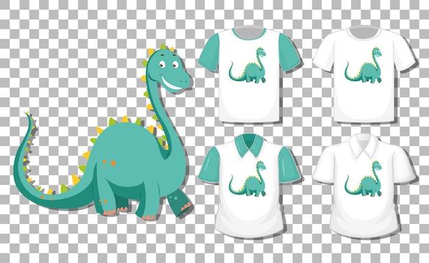 Dinosaurus stripfiguur met set van verschillende shirts geïsoleerd op transparante achtergrond Gratis Vector