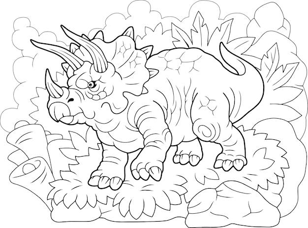 Dinosaurus triceratops Premium Vector