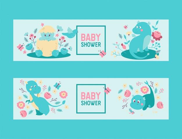 Dinosaurussen baby douche jongen of meisje vector uitnodiging. leuke dinosaurussen van babydino dinosaurussen en draken die uit ei uitbroeden, zittend in bloemen Premium Vector