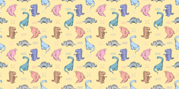 Dinosaurussen handrawn doodle naadloze patroon achtergrond behang Premium Vector