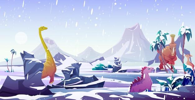 Dinosaurussen in ijstijd. dieren uitsterven door kou Gratis Vector