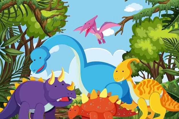 Dinosaurussen in jungle scene Premium Vector