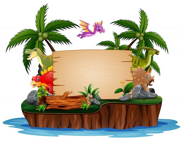 Dinosaurussen met houten bord op eiland Premium Vector