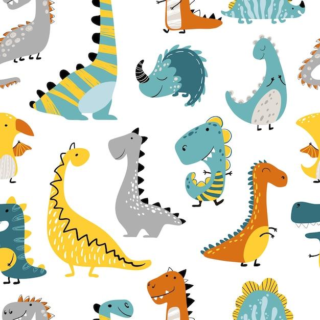 Dinosaurussen naadloze patroon op een witte achtergrond. de illustratie van kinderen in een grappige cartoon Premium Vector