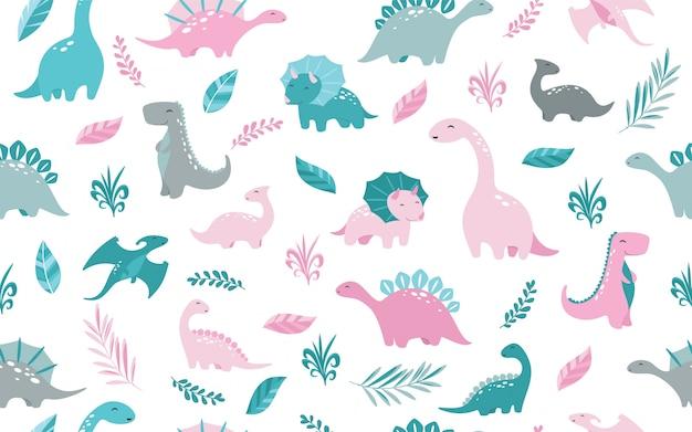 Dinosaurussen patroon Premium Vector