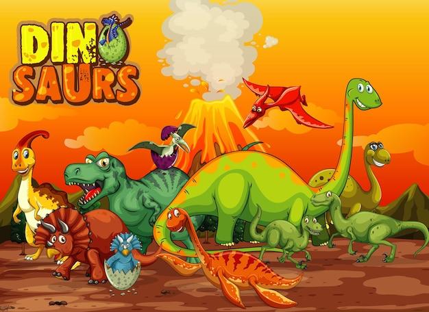 Dinosaurussen stripfiguur in de natuurscène Gratis Vector