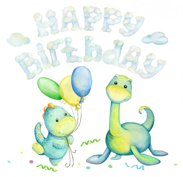 Dinosaurussen zijn groen, ballonnen, wolken, tekst, gelukkige verjaardag. waterverf Premium Vector
