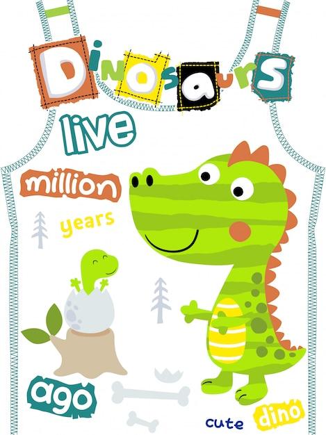 Dinosaurussenbeeldverhaal op t-shirtmalplaatje Premium Vector