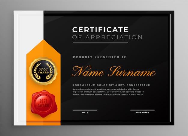Diploma certificaatsjabloon in donker thema Gratis Vector