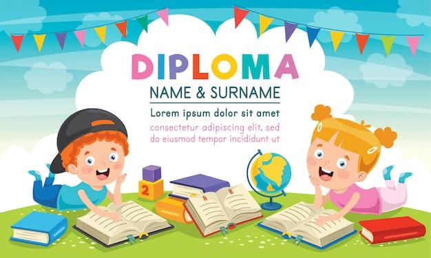 Diploma certificaatsjabloon ontwerp voor kinderen onderwijs Premium Vector
