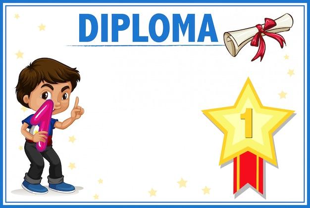 Diploma met jongensconcept Gratis Vector