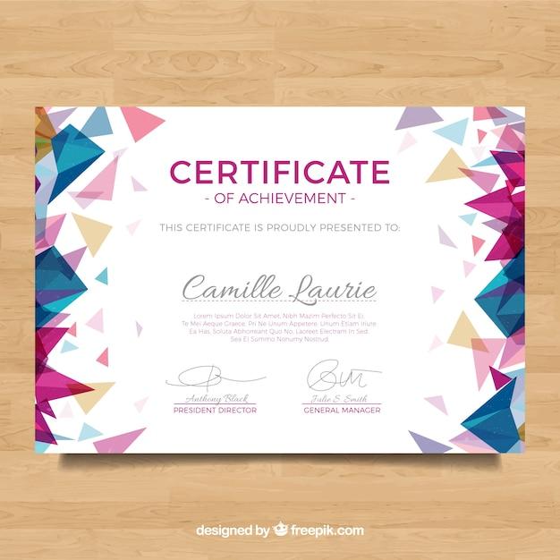 Diploma met veelhoekige gekleurde vormen Gratis Vector