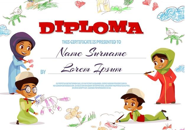 Diploma sjabloon illustratie van kleuterschool certificaat voor islamitische kinderen. Gratis Vector