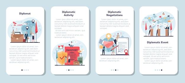 Diplomaat beroep mobiele applicatie banner set Premium Vector