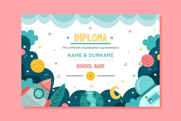 Diplomamalplaatje voor kinderen met planeten en ruimte Gratis Vector