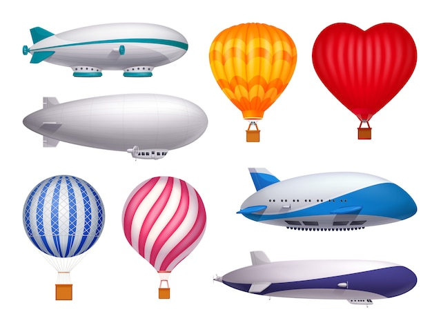 Dirigible en ballonnen transport realistische set geïsoleerd Gratis Vector
