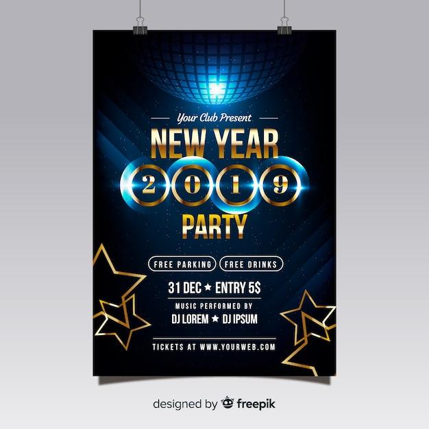 Disco bal nieuwjaars partij poster Gratis Vector